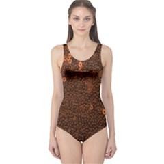 Brown Sequins Background One Piece Swimsuit