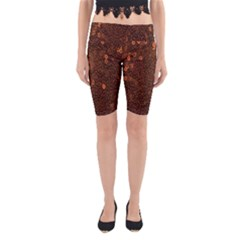 Brown Sequins Background Yoga Cropped Leggings