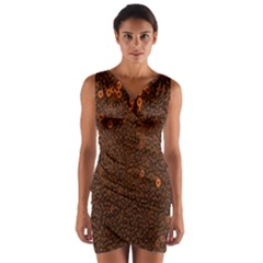 Brown Sequins Background Wrap Front Bodycon Dress