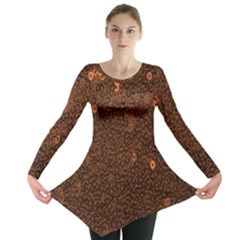 Brown Sequins Background Long Sleeve Tunic