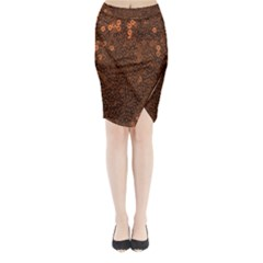 Brown Sequins Background Midi Wrap Pencil Skirt
