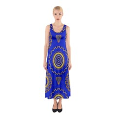 Abstract Mandala Seamless Pattern Sleeveless Maxi Dress