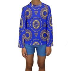 Abstract Mandala Seamless Pattern Kids  Long Sleeve Swimwear