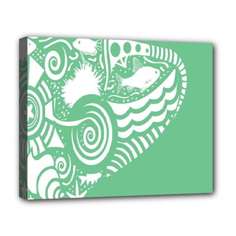 Fish Star Green Deluxe Canvas 20  X 16