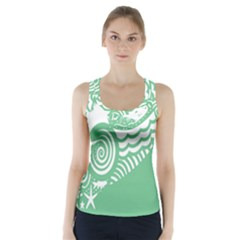 Fish Star Green Racer Back Sports Top