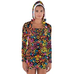 Chisel Carving Leaf Flower Color Rainbow Women s Long Sleeve Hooded T Shirt