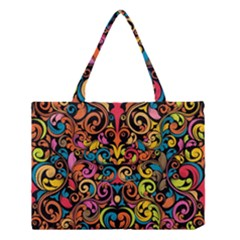 Chisel Carving Leaf Flower Color Rainbow Medium Tote Bag