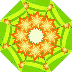 Graphics Summer Flower Floral Sunflower Star Orange Green Yellow Hook Handle Umbrellas (small)