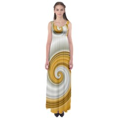 Golden Spiral Gold White Wave Empire Waist Maxi Dress