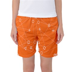 Leadership Deep Dive Orange Line Circle Plaid Triangle Women s Basketball Shorts