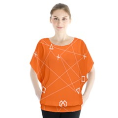 Leadership Deep Dive Orange Line Circle Plaid Triangle Blouse