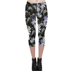 Flourish Floral Purple Grey Black Flower Capri Leggings