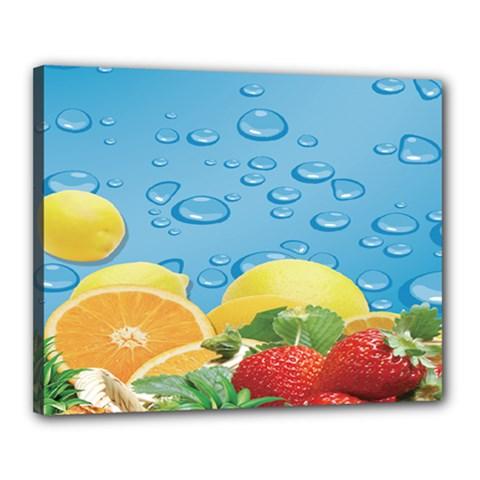 Fruit Water Bubble Lime Blue Canvas 20  X 16