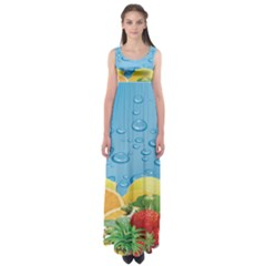 Fruit Water Bubble Lime Blue Empire Waist Maxi Dress