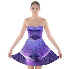 Lines Lights Space Blue Purple Strapless Bra Top Dress