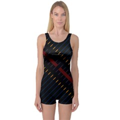 Material Design Stripes Line Red Blue Yellow Black One Piece Boyleg Swimsuit