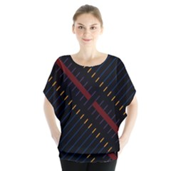Material Design Stripes Line Red Blue Yellow Black Blouse