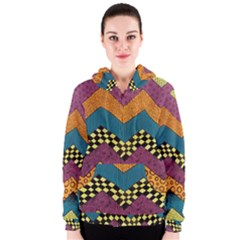 Painted Chevron Pattern Wave Rainbow Color Women s Zipper Hoodie