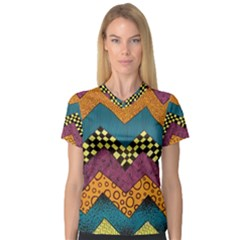 Painted Chevron Pattern Wave Rainbow Color Women s V Neck Sport Mesh Tee