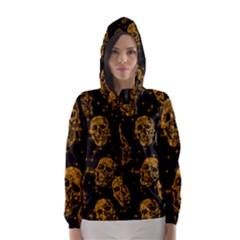 Sparkling Glitter Skulls Golden Hooded Wind Breaker (women)