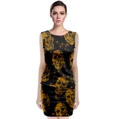 Sparkling Glitter Skulls Golden Classic Sleeveless Midi Dress