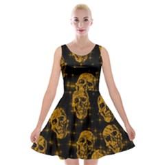 Sparkling Glitter Skulls Golden Velvet Skater Dress