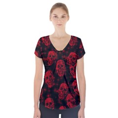 Sparkling Glitter Skulls Red Short Sleeve Front Detail Top