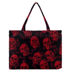 Sparkling Glitter Skulls Red Medium Zipper Tote Bag