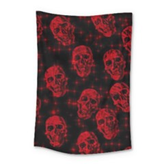 Sparkling Glitter Skulls Red Small Tapestry
