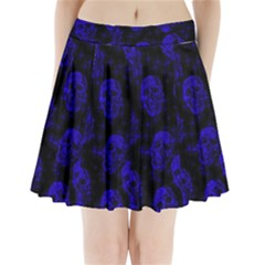 Sparkling Glitter Skulls Blue Pleated Mini Skirt