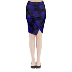 Sparkling Glitter Skulls Blue Midi Wrap Pencil Skirt