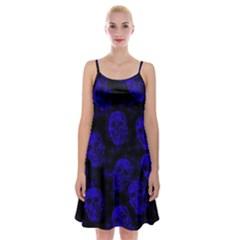 Sparkling Glitter Skulls Blue Spaghetti Strap Velvet Dress