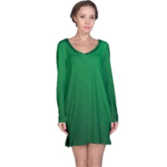 Green Beach Fractal Backdrop Background Long Sleeve Nightdress