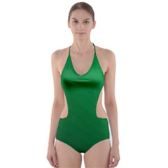 Green Beach Fractal Backdrop Background Cut-Out One Piece Swimsuit