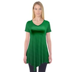 Green Beach Fractal Backdrop Background Short Sleeve Tunic