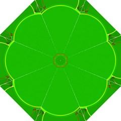 Green Circle Fractal Frame Folding Umbrellas