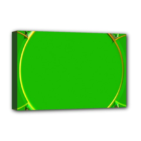 Green Circle Fractal Frame Deluxe Canvas 18  x 12