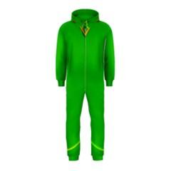 Green Circle Fractal Frame Hooded Jumpsuit (Kids)