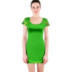 Green Circle Fractal Frame Short Sleeve Bodycon Dress