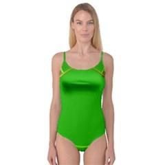 Green Circle Fractal Frame Camisole Leotard