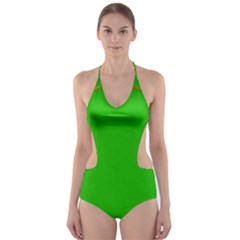 Green Circle Fractal Frame Cut-Out One Piece Swimsuit