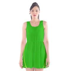 Green Circle Fractal Frame Scoop Neck Skater Dress