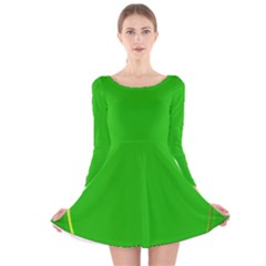 Green Circle Fractal Frame Long Sleeve Velvet Skater Dress