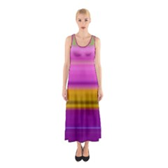 Stripes Colorful Background Colorful Pink Red Purple Green Yellow Striped Wallpaper Sleeveless Maxi Dress