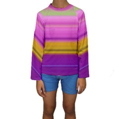 Stripes Colorful Background Colorful Pink Red Purple Green Yellow Striped Wallpaper Kids  Long Sleeve Swimwear