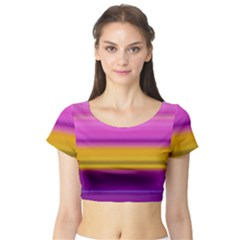 Stripes Colorful Background Colorful Pink Red Purple Green Yellow Striped Wallpaper Short Sleeve Crop Top (Tight Fit)