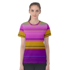 Stripes Colorful Background Colorful Pink Red Purple Green Yellow Striped Wallpaper Women s Cotton Tee
