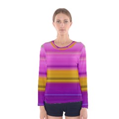 Stripes Colorful Background Colorful Pink Red Purple Green Yellow Striped Wallpaper Women s Long Sleeve Tee