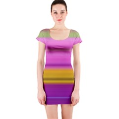 Stripes Colorful Background Colorful Pink Red Purple Green Yellow Striped Wallpaper Short Sleeve Bodycon Dress