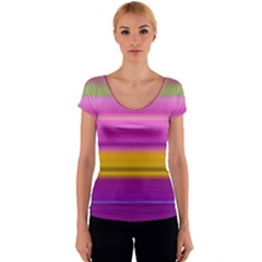 Stripes Colorful Background Colorful Pink Red Purple Green Yellow Striped Wallpaper Women s V-Neck Cap Sleeve Top